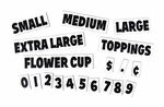 Price, Symbol and Size Magnets for Shaved Ice Flavor Menus