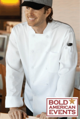 Bold American Cool Vent Chef Coat With Logo and Personalization