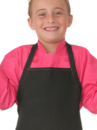 Kid's Chef Coat in Berry Pink with Black Apron