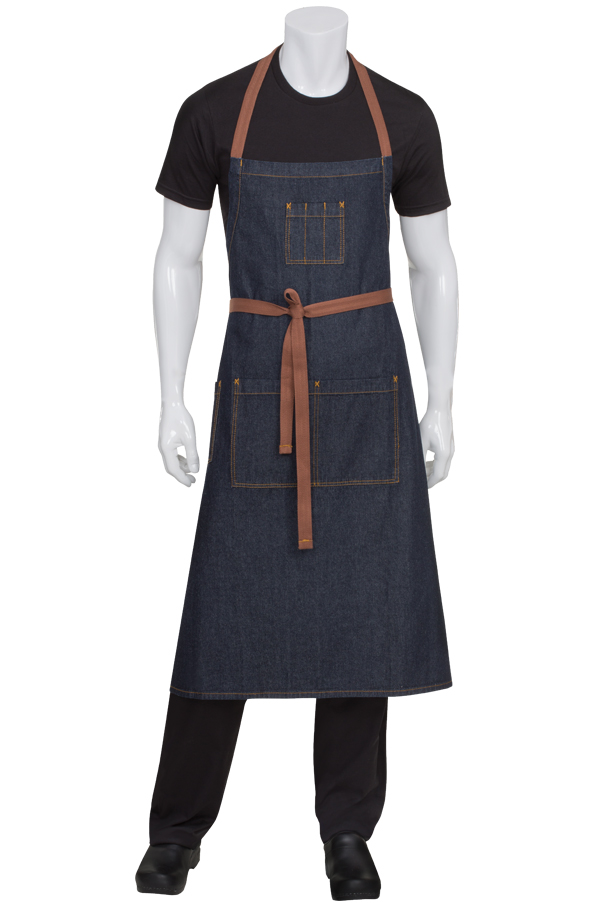Indigo Blue Denim  Adjustable Bib Apron