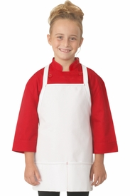 White Kid's Apron with Red Stitching