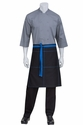 Wide Half Bistro Apron with Blue Contrast
