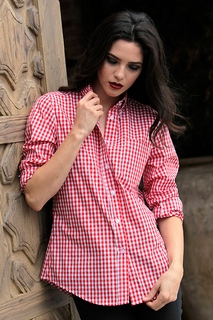 Womens Red and White Gingham  Shirt