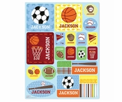 Sports Personalized Stickers - Blue