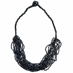 14 Beaded String Necklace in Black