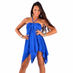 Solid Blue Cover-Up Short Dress