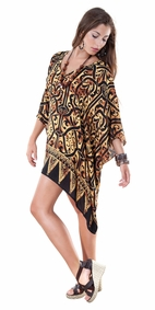 Abstract Black and Gold Print Tunic Poncho Cover-Up with V-Neck
