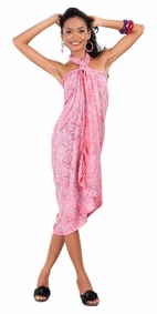 Abstract Floral Leaf Sarong in Pink
