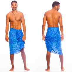 Abstract Floral Mens Sarong in Light Blue