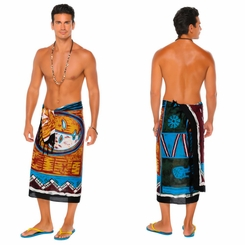 Abstract Graphic Design Mens Sarong in Brown