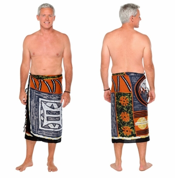 Abstract Graphic Design Mens Sarong in Light Brown