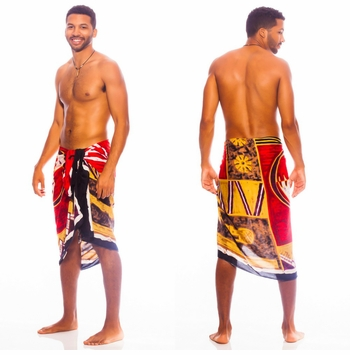 Abstract Graphic Design Mens Sarong In Red