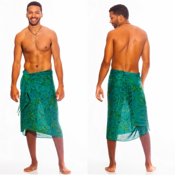 Abstract Leaf Mens Sarong in Green