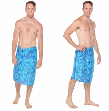 Abstract Leaf Mens Sarong in Turquoise