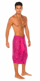 Abstract Mens Sarong in Hot Pink