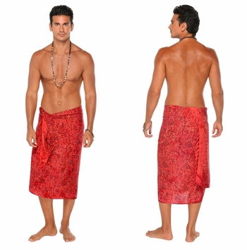 Abstract Mens Sarong in Red