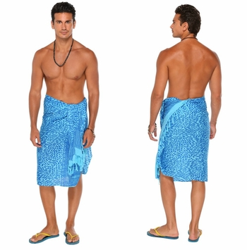 Abstract Mens Sarong in Turquoise