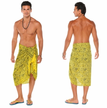 Abstract Mens Sarong in Yellow
