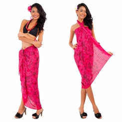 Abstract Rose Flower Sarong in Hot Pink