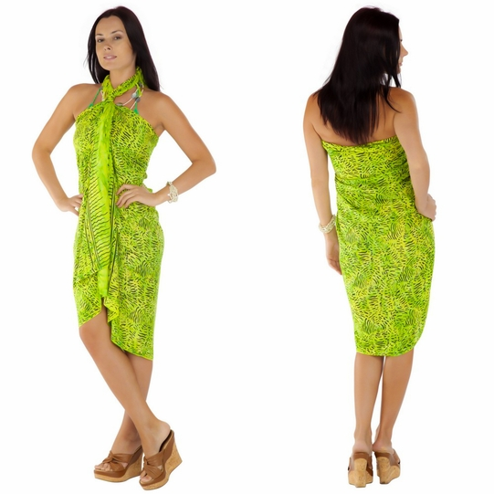 Abstract Sarong in Lime Green