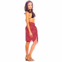 "Abstract Half Sarong ""Golden Rose"" Red and Gold"