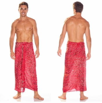 Abstract Scrolls Mens Sarong in Red