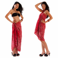 Abstract Scrolls Sarong in Red