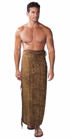 Abstract Spiral Circle Design Mens Sarong in Brown