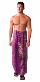 Abstract Swirl Mens Sarong in Purple
