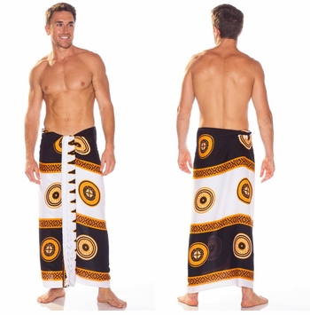 Abstract Tiki Mens Sarong in Black/White Brown