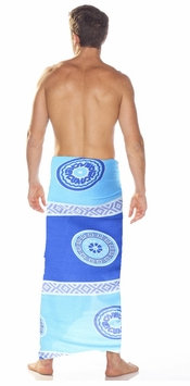 Abstract Tiki Mens Sarong in Blues
