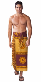 Abstract Tiki Mens Sarong in Browns