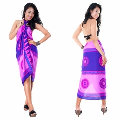 Abstract Tiki Sarong in Purple/Pink