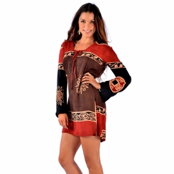 Abstract Tiki Tunic Cover Up in Black/Brown/Burgundy