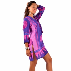 Abstract Tiki Tunic Cover-Up in Pink/Puple