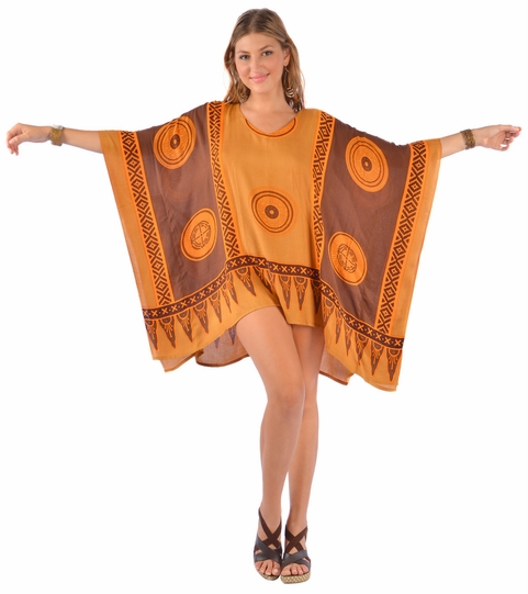 Abstract Tiki Poncho Cover-Up with V-Neck in Browns