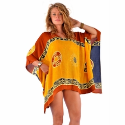 Abstract Tiki Tunic Yellow/Blue Poncho Cover-Up with V-Neck