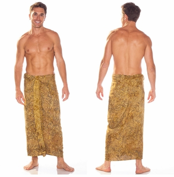 Abstract Top Quality Mens Sarong in Beige