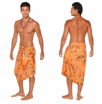 Abstract  Top Quality Mens Sarong in Orange