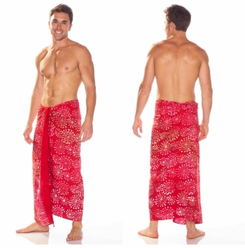 Abstract Top Quality Mens Sarong in Red