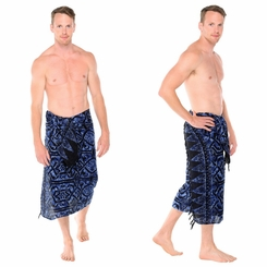 "Abstract Tribal Mens Sarong ""Blueish"""