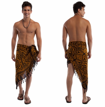 "Abstract Tribal Mens Sarong ""Goldish Brown"""