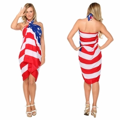 American Flag Sarong Fringeless