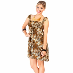 Animal Print Short Dress with Cap Sleeves
