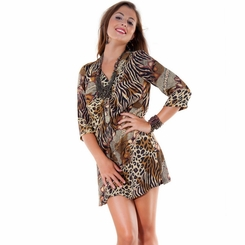 Animal Print Tunic Cover Up with V-Neck and 3/4 Sleeves