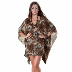 Animal Print Tunic Poncho Cover Up with V-Neck