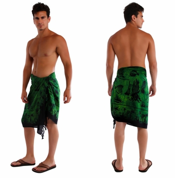 Aquatic Life Mens Sarong in Sea Green