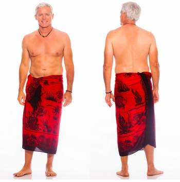 Aquatic Life Mens Sarong Red/Black