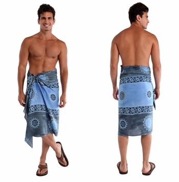 Baliku Mens Sarong in Blue Fringeless
