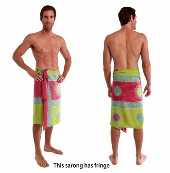 Baliku Mens Sarong in Pink And Green